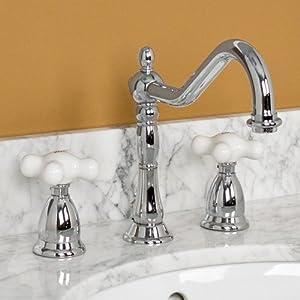 Victorian Gooseneck Lavatory Faucet With Large Porcelain Cross Handles Chro