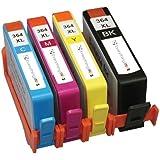 4 Compatible HP 364XL Multipack Cartouches haute capacité d'impression d'encre pour Photosmart B109a B109n B109d B109f B110a B110c B110e B111 B211 C410 B210a B210C C410b C309a C309n C309g C310A B209a B010a B209c B8550 B8553 C5324 C5380 C5383 C5390 C6300 C6324 C6380 D5400 D5460 5510 5515 6510 7510, avec puce , Prêt à l'emploi