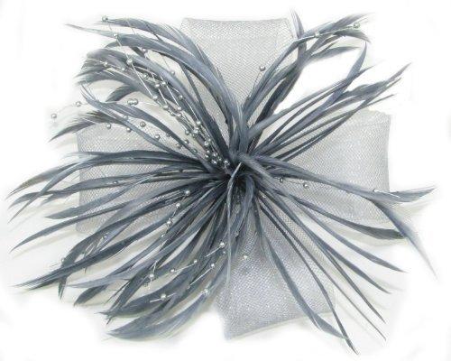 Silber Grau mit Acrylperlen Fascinator Corsage Brosche für Hochzeiten Parteien Damen Tag Rennen Proms