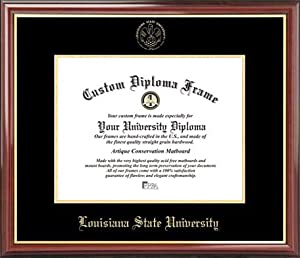 Louisiana State University Tigers - Embossed Seal - Mahogany Gold Trim - Diploma... by Laminated Visuals