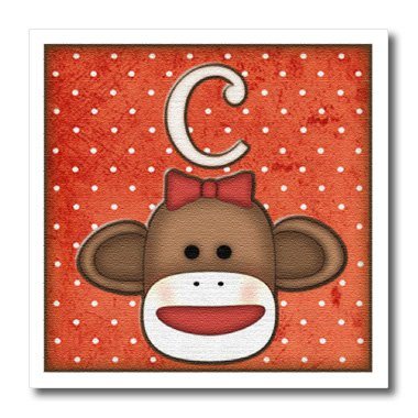 3dRose ht_102806_2 Cute Sock Monkey Girl Initial Letter C-Iron on Heat Transfer for White Material, 6 by 6-Inch
