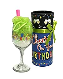 Bath Salt Sundae in Birthday Wine Glass with Decorative Wine Glass Packaging *Lots of Designs To Choose From* (Cheers on Your Birthday)
