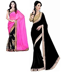 RockChin Fashions Pink-black sari and black plain georgette sari