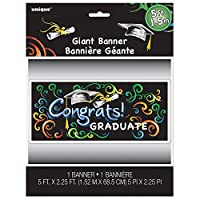 """Chalkboard Graduation Wall Banner & Photo Prop, 60"""" x 27"""" by Unique"""
