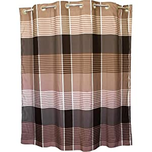 Brown Plaid Hookless Polyester Shower Curtain 71 X 74 Inch