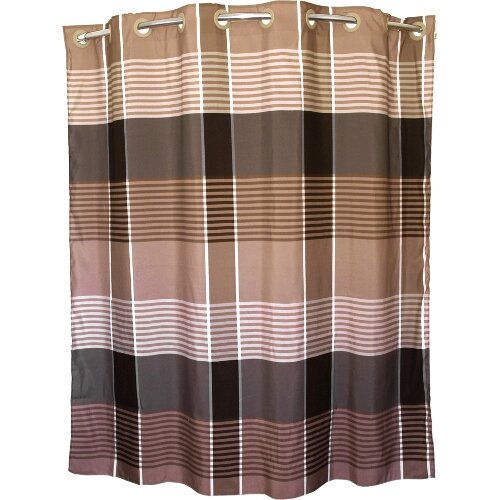 brown plaid hookless polyester shower curtain 71 x 74 inch shower