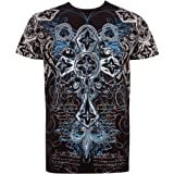 Cross Metallic Silver Embossed Short Sleeve Crew Neck Cotton Mens Fashion T-Shirt