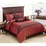 Cozy Beddings Indiologie 7-Piece Comforter Set, Includes Red, Burgundy Stripe Bed-in-a-bag Full Size Bedding