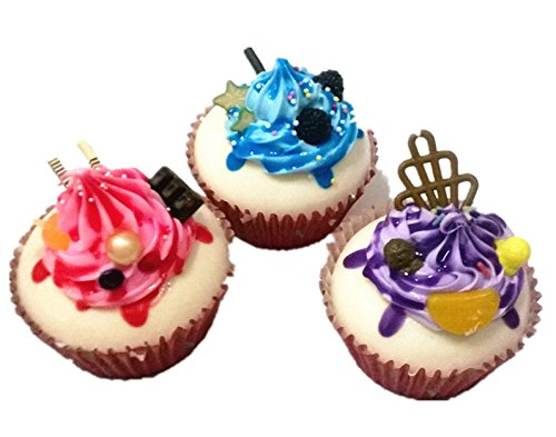 SFamily Artificial PU Cupcakes Fake Dessert Cake Shop Display Home Kitchen Fridge Wedding Decor Photography Props Set of 3 (Display Fake Cupcakes compare prices)