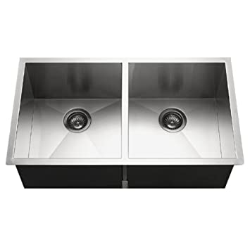 Houzer CTD-3350 Contempo Series Undermount Stainless Steel 50/50 Double Bowl Kitchen Sink
