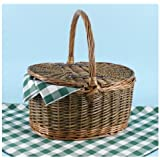 ONNY DE LUXE Buff and Green Willow Picnic Basket with tablecloth and napkinsby Web Hampers