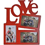 IIPL Glass Love Collage Photo Frame (24 Cm X 20 Cm X 4 Cm, Red)