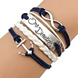 Vintage Silver One Direction Infinity Anchor Bracelet Navy White Leather Rope Handmade