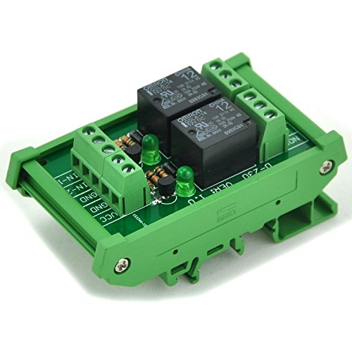Electronics-Salon Din Rail Mount 2 Spdt Power Relay Interface Module, Omron 10A Relay, 12V Coil.