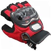 Benjoy Pro Biker Bike Riding Half Gloves (Size M ,Colour Red) For Bajaj Pulsar 200 NS DTS-i