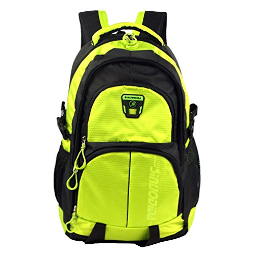 Zerd Nylon Lagre Capacity Waterproof Sports Travel Camping Students Backpack Light Green front-207073