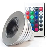 Multi-color Changing LED MR16 RGB Spotlight 12V 3W w / IR Remote Control Bead Surface Lens, Standard Size