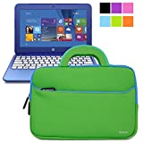 Evecase HP Stream 11 UltraPortable Handle Carrying Portfolio Neoprene Sleeve Case Bag for HP Stream 11 11-d010nr Notebook 11.6 inch Laptop - Green