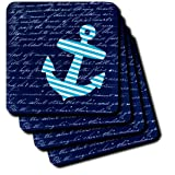 3dRose Cst_112807_2 Striped Anchor On Black With Vintage Handwriting Sailor Stripes Nautical Design Soft Coasters...