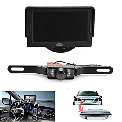 Backup Camera and Monitor Kit For Car,Universal Waterproof Rear-view License Plate Car Rear Backup Camera + 4.3 LCD Rear View Monitor from The Rear View Camera Center