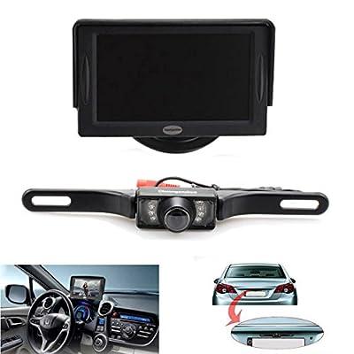 Backup Camera and Monitor Kit For Car,Universal Waterproof Rear-view License Plate Car Rear Backup Camera + 4.3 LCD Rear View Monitor from The Rear View Camera Center