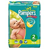 Pampers Baby-Dry Size 2 (6-13 lbs/3-6 kg) Nappies - 2 x Economy Packs of 70 Nappies