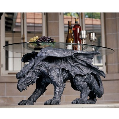 "Design Toscano Kneeling Dragon Table with Glass 39""L # 93039"