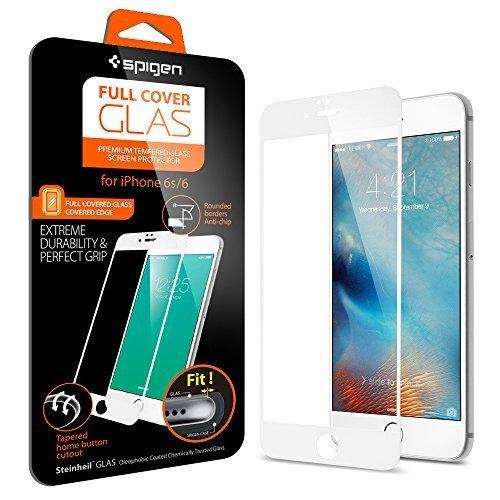 Spigen iPhone6s ガラス フィルム / iPhone6 ガラス フィルム, フルカバー グラス [ 3D Touch 全面液晶保護 9H硬度 發油加工 ] アイフォン6s / 6 用 (ホワイト SGP11590)