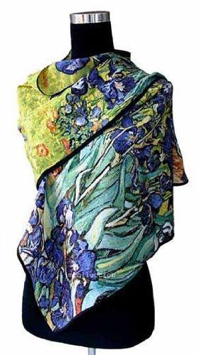 70098619f288 Prettystern P841 - 160cm Foulard Echarpe Soie Art van Gogh Fleurs  Impressionnist - Iris   Schwertlilien