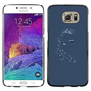 Omega Covers - Snap on Hard Back Case Cover Shell FOR Samsung Galaxy S6 - Chalk Girl Art Blue Gray Grey Woman