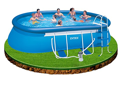Best Intex 18ft x 10ft x 42in deep Oval Swimming Pool with ...