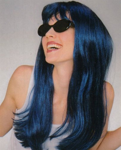 Long Dark Blue Glamour Wig