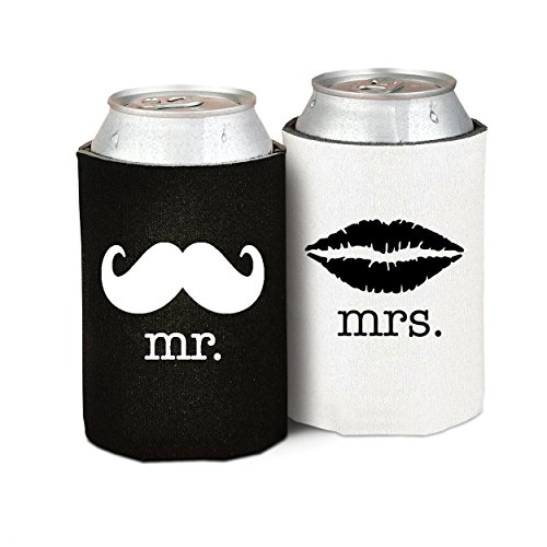 Mr. and Mrs. Wedding, Anniversary, Newlywed, Can Cooler Gift Set - Set of 2