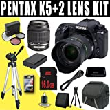 51jtn5qOURL. SL160  Pentax K 5 16.3 MP Digital SLR with 18 55mm Lens and 3 Inch LCD and 50 200mm f/4 5.6 Lenses (Black) + DLI90 Battery + 16GB SDHC DavisMAX Accessory Kit HDMI Tripod Bundle