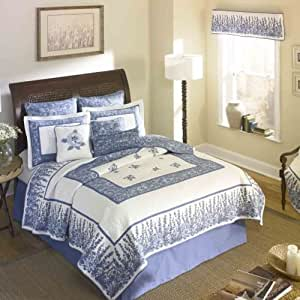 Donna Sharp Azure Field Embroidered 100 Percent Cotton King Quilt Bluebonnet Fabric