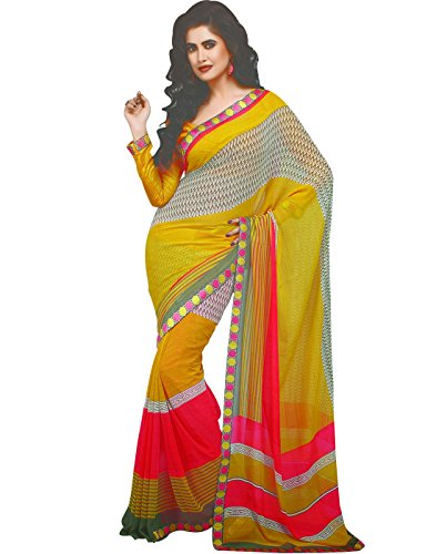 Cbazaar Yellow Chiffon Saree With Blouse Piece
