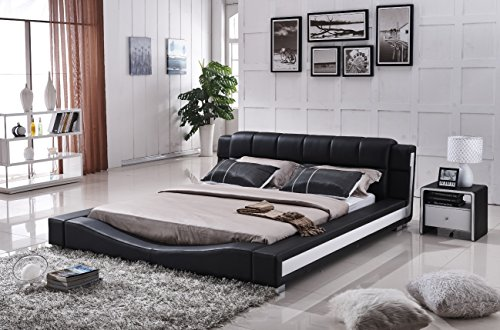 Container Furniture Direct Liam Collection Contemporary 2 Tone Faux Leather Upholstered Platform Bed with Padded Headboard, Queen, Black/White (Making The Modern Qb compare prices)