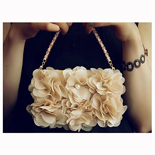 Review KAKA(TM) Elegance Fashion Design Chiffon Flower Clumps Pearl Decorated Protective PU Leather ...