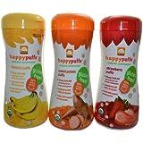 Happy Baby Organic Puffs 2.1 Oz Mixed 3 Pack (1 Strawberry, 1 Bananna, 1 Sweet Potato) Gift, Baby, NewBorn, Child