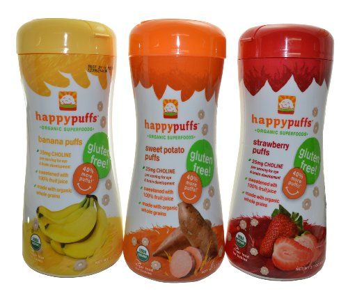 Happy Baby Organic Puffs 2.1 Oz Mixed 3 Pack (1 Strawberry, 1 Bananna, 1 Sweet Potato)