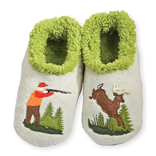 Snoozies Mens Classic Splitz Non-Skid Slipper Socks - Hunting, Large