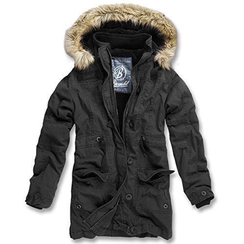Brandit Nolita Donna Giacca Vintage Giacca Eskimo Invernale - cotone, Nero, 100% poliestere 100% poliestere 100% cotone 100% poliacrilico 100% cotone, Donna, S / 36