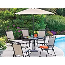 Steel Folding Patio Set with Umbrella Folding