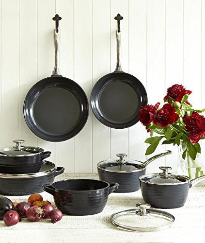 Portmeirion Sophie Conran Cast Aluminum Ceramic Coated Cookware Black Saucepan with Glass Lid, 8.0 Inch