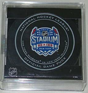 2014 NHL Stadium Series New York Official Game Puck in Cube - Rangers vs. Islanders by Sherwood