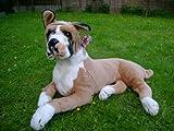 BRITISH BULLDOG DOG WHITE BOXER DOG REAL LIFE SIZE SOFT TOY PLUSH 70CM