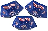 Patriotic 4th Of July Disposable Snack Serving Bowls In Red White And Blue 11.5x11.5 (3 Pack)
