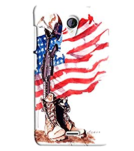Blue Throat Us Flag Hard Plastic Printed Back Cover/Case For Micromax Unite 2