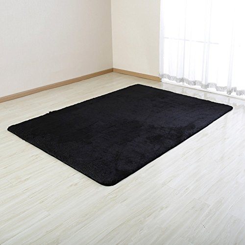 CrystalMX Super Soft Modern Shag Area Rugs Living Room Carpet Bedroom Rug for Children Play Solid Home Decorator Floor Rug and Carpets 4- Feet By 5- Feet (Black)