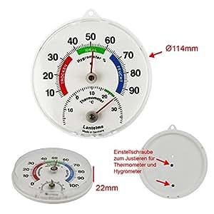 Lantelme Thermohygrometer (Analoges Kombigerät für Innen , Außen oder Garten) - Made in Germany